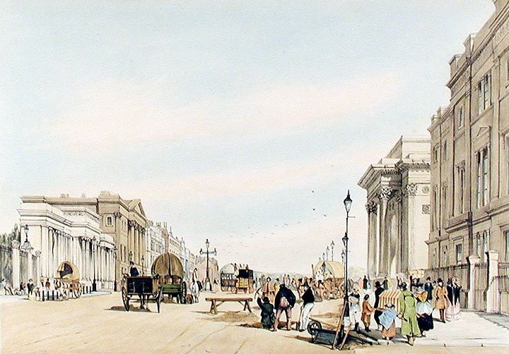 Hyde Park Corner in 1842, looking east towards Piccadilly. The entrance to Hyde Park through Decimus Burton's Ionic Screen is on the left, and behind it, in darker stone, is Apsley House.